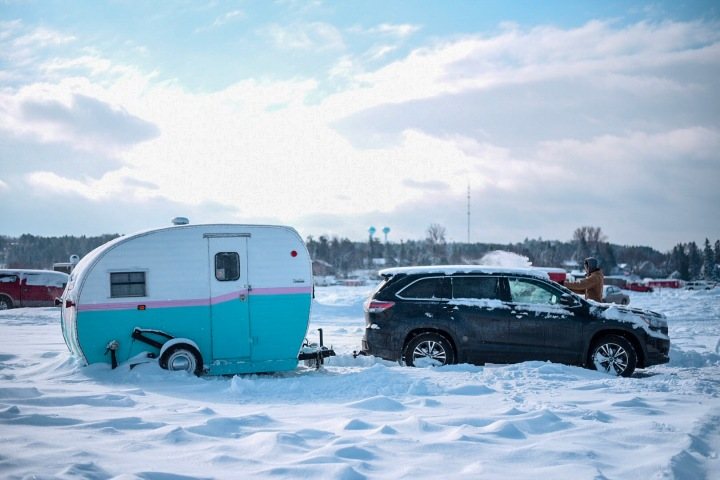 Vintage fish house camper at Eelpout Festival