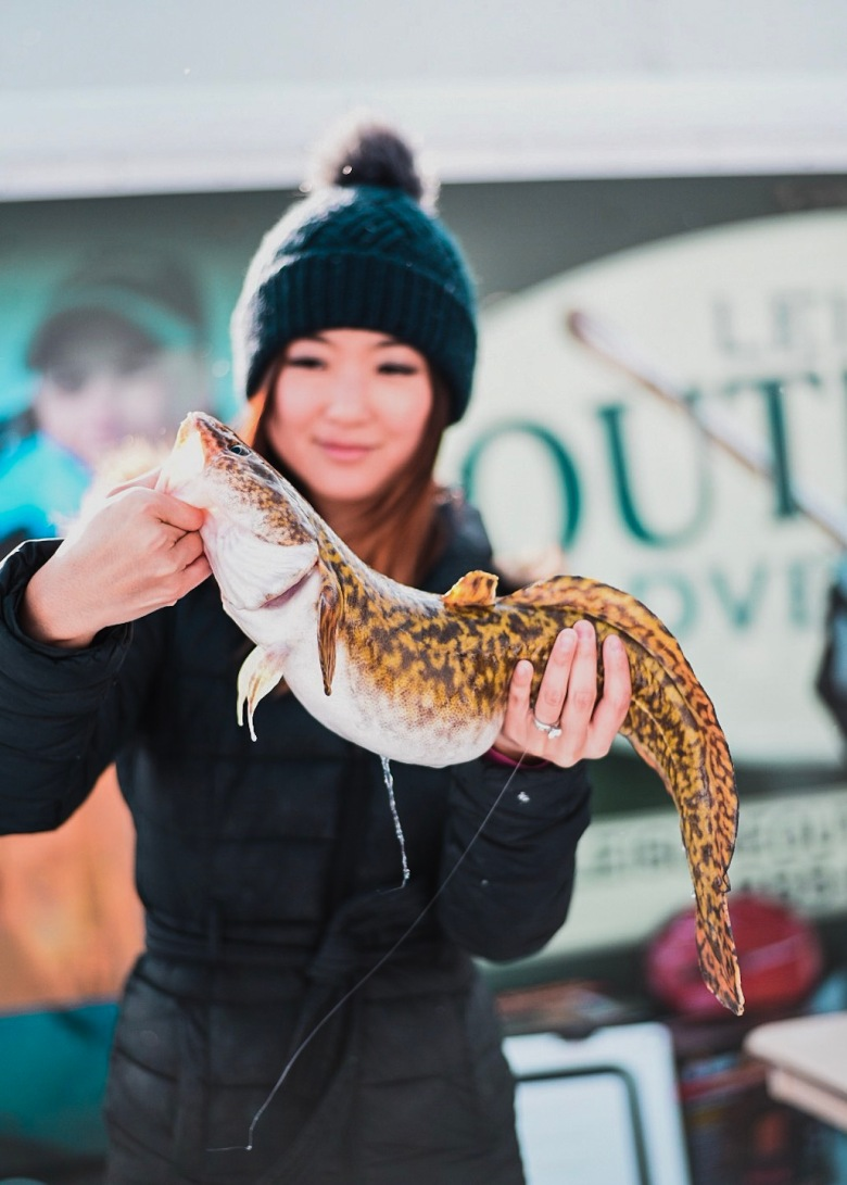 Jenny Anderson holding eelpout