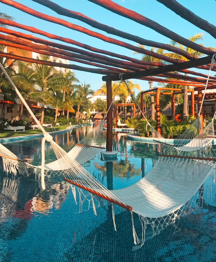 Hammocks at Excellence Playa Mujeres pool