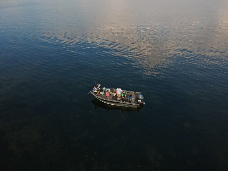 Aerial view of boat on White Bear Lake