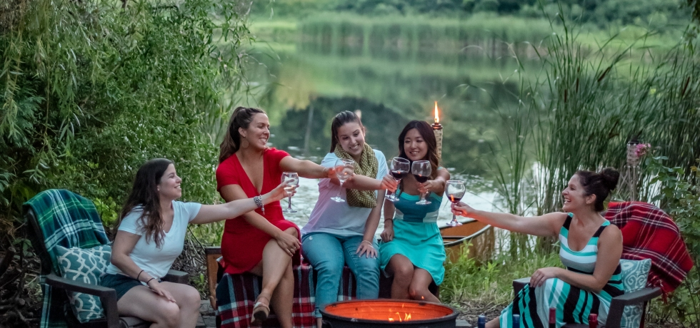 Girl's night around the campfire