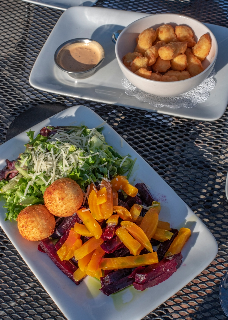 Beet salad and cheese curds at Acqua Of Forest Lake, Forest Lake, MN