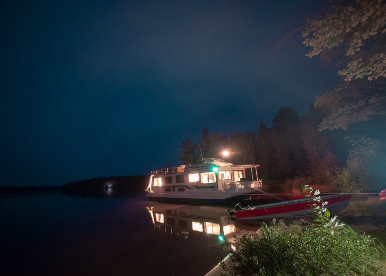 Moored houseboat at Voyageurs National Park