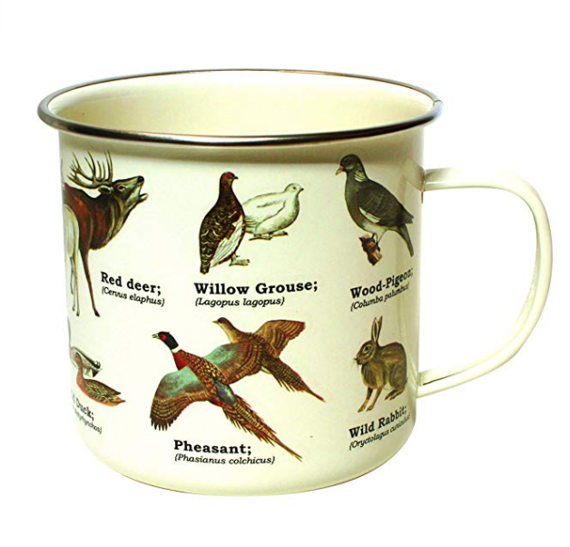 bird enamelware cup