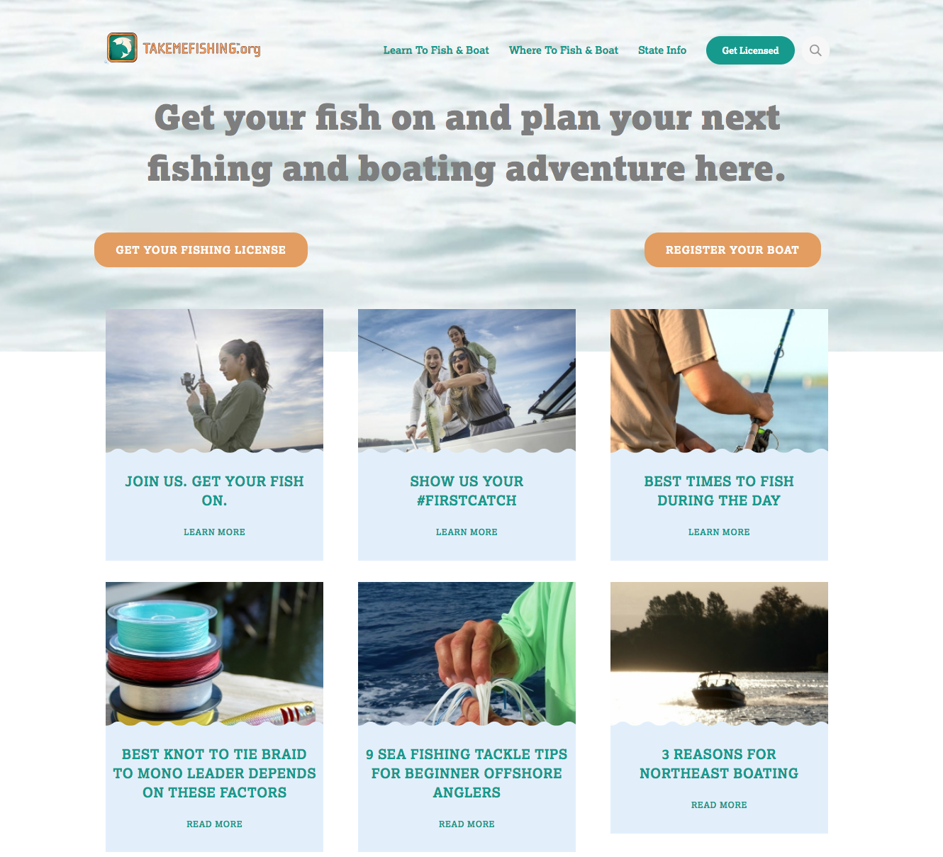 Take Me Fishing website screenshot