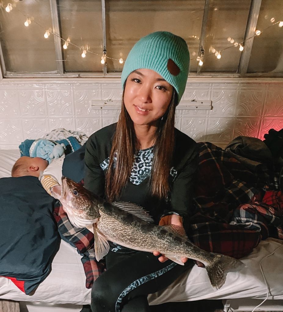 Catching walleye while ice fishing