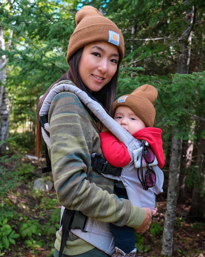 Hiking with baby in front pack carrier
